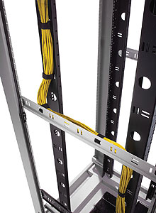 Vertical mounting-rails double as cable management